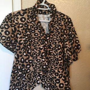 Cheetah print one button jacket